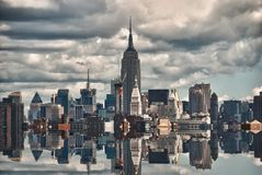 New York City Skyscrapers Reflections Stock Photo