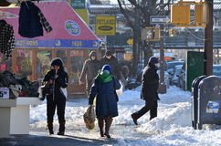 New York City Snow Storm 2014 Stock Photography