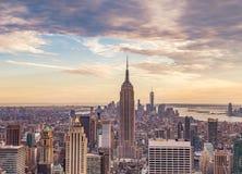 New York City am Sonnenuntergang Stockbilder