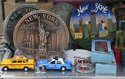New York City souvenirs on display in Manhattan Royalty Free Stock Image