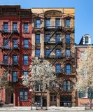New York City in Spring - Historic buildings in the East Village. New York City in Spring - Historic buildings on Stuyvesant Street in the East Village of royalty free stock image