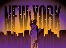 New York City and Statue of Liberty. Banner with of New York City, Statue of Liberty at night star sky Stock Photography