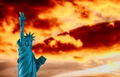 New York City, The Statue of Liberty in a colorful sunset. Colorful sunset in the Statue of Liberty New York City, freedom, nyc, independence, sky, usa, landmark stock image