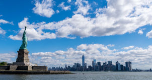 New York City Statue of Liberty and New York City Skyline Royalty Free Stock Photo
