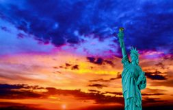 New York City Statue of liberty at sunset with American Symbol US. American Symbol US Statue of Liberty at Sunset, New York City, freedom, nyc, independence, sky royalty free stock photography