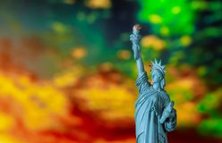 New York City in the Statue of Liberty at Sunset. Independence day, freedom, nyc, sky, usa, landmark, america, travel, monument, tourism, famous, symbol, torch stock photos