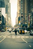 New York City Street Edited. Busy New York City Street with all recognizable signs, logos and faces altered or blurred Royalty Free Stock Photos