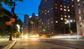 New York City street at night time Stock Photos