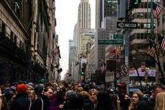 New York City street at rush hour stock photos