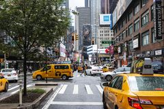 New York City street scene on Broadway looking south royalty free stock photos