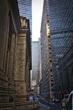 New York City Street Scene. High rise. buildings, early morning, right turn lane Royalty Free Stock Image