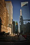 New York City Street Scene. High rise. buildings, early morning, right turn lane Stock Image