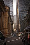 New York City Street Scene. High rise. buildings, early morning, right turn lane Royalty Free Stock Photography