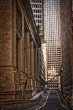 New York City Street Scene. High rise. buildings, early morning, right turn lane Royalty Free Stock Photo
