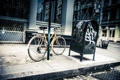 New York City street scene - soho area -bike. Gritty New York City street scene - soho area -bike Royalty Free Stock Photos
