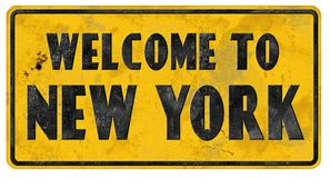 New York City Street Sign Grunge Welcome. New York City Street Sign Vintage Welcome Grunge Rustic Metal Embossed Road Direction Queens stock image