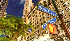New York City street signs at night.  Royalty Free Stock Photography