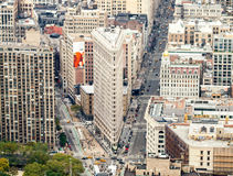 New York City Street View. View looking down on Manhattan and New York City street view with the famous Flat Iron building in the centre and broadway with busy Royalty Free Stock Photos