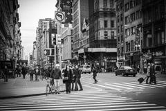 New York City Street View - Flatiron District. A city street view shot in the Flatiron District in Manhattan, New York City; black and white colortone Stock Photography