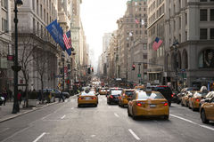 New York City Street View. Picture taken in the middle of the street in New York City on a typicle day Stock Photos