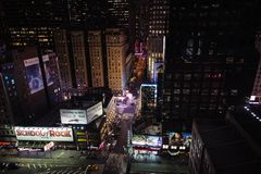 New York City Streets From Above At Night. Looking down at the New York City streets from Above at night, just up from Times Square in Manhattan Royalty Free Stock Photography
