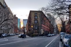 New York City streets at dusk in the East Village Stock Photo