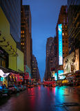 New York City streets at night time Stock Photos