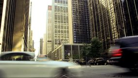 New York City streets on a shiny day timelapse. Transport and people traffic on the New York City Skyscrapers background stock footage