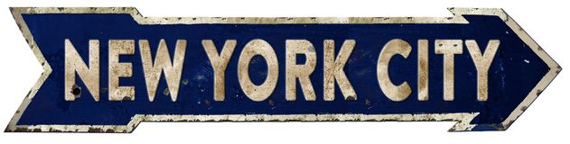 New York City Streetsign Arrow Vintage. Grunge Direction Highway Road Old Rustic Rusted Antique NYC Stock Photography