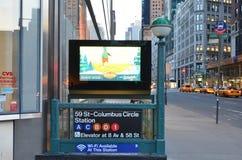 New York City Subway Columbus Circle Station. New York Subway Station Entrance Sign Stock Photography