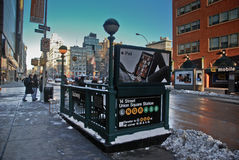 New York City subway corner. View of New York City streets under snow Royalty Free Stock Photos