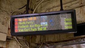 New York City Subway Information Display Board. Very dated display board at a New York City Subway station Stock Photos