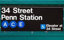 New York City Subway Sign Penn Station 34th Street Stock Image