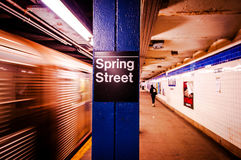 New York City Subway Station, Train moving, Subway Station sign royalty free stock image