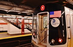 M Subway Train leaving Station stock images