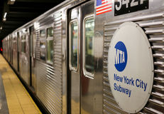 New York City Subway. New York City, USA - May 21, 2014: A Subway waits in New York City. The doors are closed Stock Image