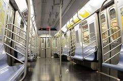 New York City Subways. Interior of an empty J Train, part of the New York City Subway System stock photography