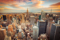 New York City. Sunset aerial view of New York City looking over midtown Manhattan towards downtown