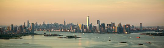 New York city at sunset aerial view stock photo
