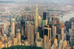 New York city at sunset aerial view stock photography