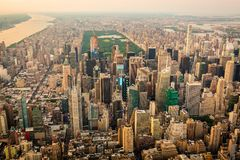 New York city at sunset aerial view stock image
