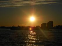 New York City sunset amazing stock photography