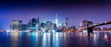 New York city sunset panorama cityscape. New York city sunset panorama cityscape royalty free stock photo