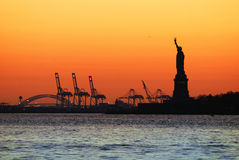 New York City Sunset Silhouette Stock Photo