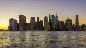 New York City Sunset Skyline stock footage
