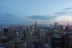 New York City At Sunset taken from the Top of the Rock stock image