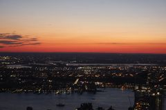 New York City at sunset. View of New York City at sunset royalty free stock photo
