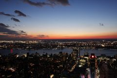 New York City at sunset. View of New York City at sunset Stock Photo