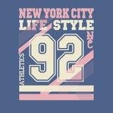 New York City t-shirt. New York City Typography Graphics logo, T-shirt Printing Design. NYC original wear, Vintage Print for sportswear apparel - vector Stock Photos