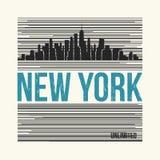 New York City t-skjorta design också vektor för coreldrawillustration stock illustrationer